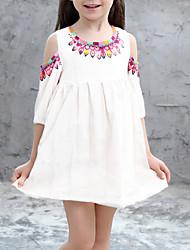 Χαμηλού Κόστους -Παιδιά Κοριτσίστικα Φλοράλ Φόρεμα Λευκό