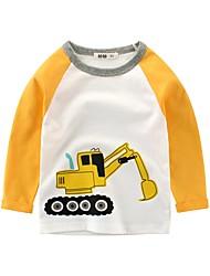 billige -Barn Gutt Grunnleggende Trykt mønster Trykt mønster Langermet Bomull Bluse Hvit