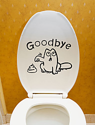 Недорогие -Наклейки для туалета - Простые наклейки Животные Гостиная / Спальня / Ванная комната