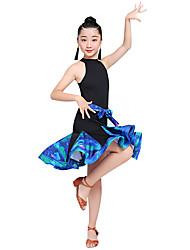 economico -Balli latino-americani / Abbigliamento da ballo per bambini Vestiti Da ragazza Prestazioni Elastene Con ruche / Più materiali Senza maniche Alto Abito