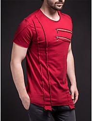 저렴한 -남성용 솔리드 패치 워크 - 티셔츠