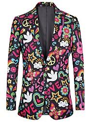Недорогие -Муж. С принтом Костюмная куртка Цветочный принт / Буквы Пурпурный