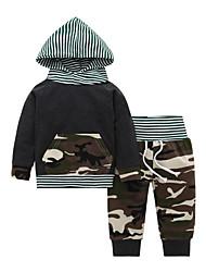 billige -Baby Gutt Fritid / Grunnleggende Stripet / Trykt mønster Langermet Normal Bomull Tøysett Militærgrønn
