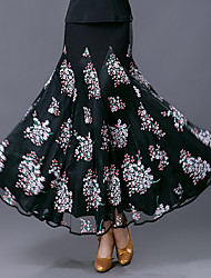 저렴한 -볼륨 댄스 하위 여성용 트레이닝 / 성능 폴리에스테르 / 메쉬 패턴 / 프린트 / 루시 주름 장식 높음 치마