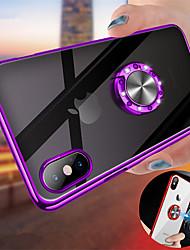 Недорогие -Кейс для Назначение Apple iPhone XS / iPhone XR / iPhone XS Max Покрытие / Кольца-держатели / Прозрачный Кейс на заднюю панель Однотонный Твердый ПК