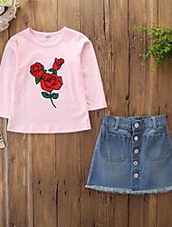 abordables -Niños / Bebé Chica Activo / Básico Floral Estampado Manga Larga Algodón / Licra Conjunto de Ropa Rosa
