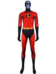 preiswerte -Zentai Anzüge Austattungen Superman Ninja Erwachsene Cosplay Kostüme Halloween Rote Einfarbig Elastan Lycra® Herrn Halloween Karneval Maskerade