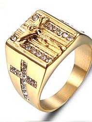 Недорогие -Муж. Ретро С гравировкой Кольцо Титановая сталь Мода Модные кольца Бижутерия Золотой Назначение Подарок Повседневные