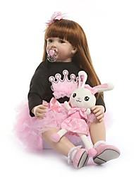 Недорогие -NPKCOLLECTION NPK DOLL Куклы реборн Девочки 24 дюймовый Винил - Подарок Ручная работа Искусственная имплантация Коричневые глаза Детские Девочки Игрушки Подарок