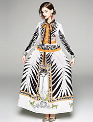 baratos -Mulheres Boho balanço Vestido - Estampado, Animal Longo