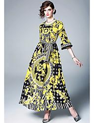 저렴한 -여성용 우아함 스윙 드레스 - 플로럴, 페플럼 패치 워크 맥시