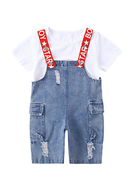 abordables -Enfants Fille Basique / Chic de Rue Imprimé Imprimé Manches Courtes Coton / Polyester Ensemble de Vêtements Blanc