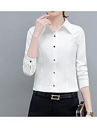 billige -kvinners slanke skjorte - solid farget skjorte krage