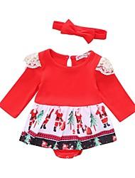 tanie -Dziecko Dla dziewczynek Podstawowy Nadruk Nadruk Długi rękaw Nad kolano Bawełna / Poliester Sukienka Czerwony / Brzdąc