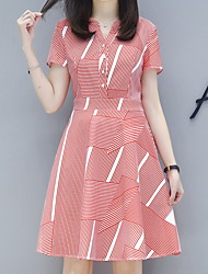 preiswerte -Frauen knielange dünne Scheide eine Linie Kleid V-Ausschnitt rot S M L xl