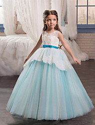 cheap -Princess Long Length Flower Girl Dress - Lace / Tulle Sleeveless Jewel Neck with Appliques / Belt by LAN TING Express