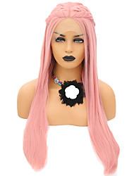 abordables -Perruque Lace Front Synthétique Droit Rose Partie médiane Rose Cheveux Synthétiques 24 pouce Femme Ajustable / Résistant à la chaleur / Soirée Rose Perruque Long Lace Frontale