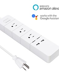 Недорогие -Удлинитель Устройства защиты от перенапряжений / с USB-портами / Запланированное время 1шт ПВХ Подключаемый WiFi-Enabled / ПРИЛОЖЕНИЕ / Управление голосом Amazon Alexa Echo / Google Assistant