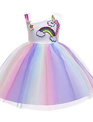 abordables -Niños Chica Estilo lindo Arco iris Plisado Sin Mangas Sobre la rodilla Poliéster Vestido Morado