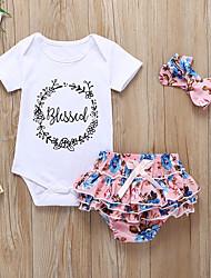 voordelige -Baby Meisjes Actief / Standaard Bloemen / Print Ruche / Geplooid / Print Korte mouw Lang Katoen Kledingset Wit