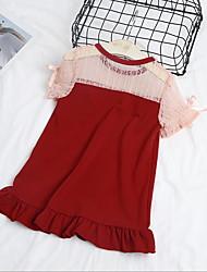 זול -שמלה שרוולים קצרים קולור בלוק בנות ילדים