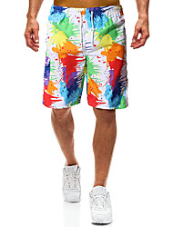 cheap -Men's Sporty Basic White Board Shorts Bottoms Swimwear - Color Block Lace up Print L XL XXL White