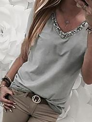 hesapli -Kadın ab / us boyut ince tişört - düz renkli v boyun