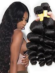 Недорогие -4 Связки Бразильские волосы Свободные волны Не подвергавшиеся окрашиванию Головные уборы Человека ткет Волосы Пучок волос 8-28 дюймовый Черный Естественный цвет Ткет человеческих волос / Без запаха