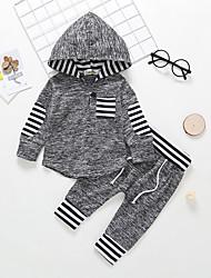 billige -Baby Gutt Fritid / Grunnleggende Stripet Langermet Normal Bomull Tøysett Mørkegrå