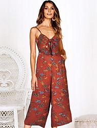 ราคาถูก -สำหรับผู้หญิง Street Chic สีน้ำเงิน ทับทิม สีเหลือง ชุด Jumpsuits, ลายดอกไม้ ลายพิมพ์ M L XL