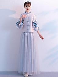 Недорогие -Из двух частей Вырез под горло В пол Сатин / Тюль Платье для подружек невесты с Вышивка от LAN TING Express