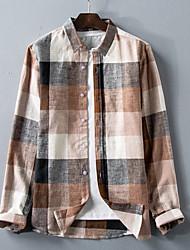 levne -pánské tričko - límec z kostkované košile