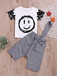 preiswerte -Baby Jungen Aktiv / Grundlegend Druck Druck Kurzarm Standard Standard Baumwolle Kleidungs Set Weiß