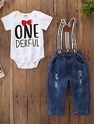 billige -Baby Drenge Aktiv / Basale Trykt mønster Sløjfer / Trykt mønster Kortærmet Normal Bomuld / Spandex Tøjsæt Hvid