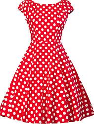 Недорогие -Жен. Большие размеры На выход 1950-е года А-силуэт Платье - Горошек, С принтом V-образный вырез До колена