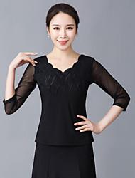 저렴한 -볼륨 댄스 상의 여성용 트레이닝 / 성능 폴리에스테르 패턴 / 프린트 / 루시 주름 장식 / 크리스탈 / 라인석 3/4 길이 소매 탑