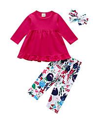 tanie -Dzieci / Brzdąc Dla dziewczynek Podstawowy / Wzornictwo chińskie Solidne kolory / Żakard Rękaw 3/4 Bawełna Komplet odzieży Wino