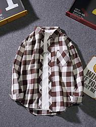 cheap -men's loose shirt - check shirt collar