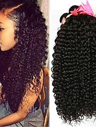 Недорогие -4 Связки Бразильские волосы Kinky Curly 100% Remy Hair Weave Bundles Головные уборы Человека ткет Волосы Пучок волос 8-28 дюймовый Естественный цвет Ткет человеческих волос / Без запаха