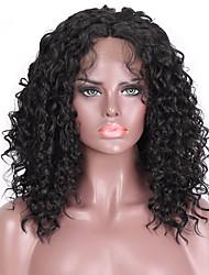 ราคาถูก -วิกผมสังเคราะห์ลูกไม้ด้านหน้า Afro Kinky สไตล์ ตอนกลาง มีลูกไม้ด้านหน้า ผมปลอม ดำ Black สังเคราะห์ 16 inch สำหรับผู้หญิง สังเคราะห์ ดำ วิก ความยาวระดับกลาง