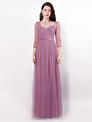 cheap -Sheath / Column Illusion Neck Floor Length Tulle Bridesmaid Dress with Pleats by LAN TING Express