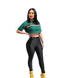 abordables -Femme Set - Couleur Pleine Pantalon