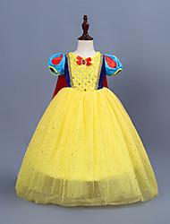 cheap -Kids / Toddler Girls' Vintage / Sweet Patchwork Short Sleeve Midi Dress Yellow