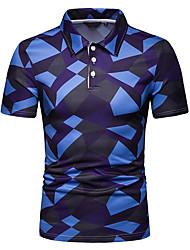 Недорогие -Муж. Polo Рубашечный воротник Контрастных цветов Синий