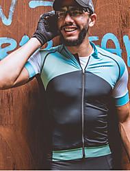 お買い得  -SPAKCT 男性用 半袖 サイクリングジャージー - グレー 青と黒 バイク ジャージー 速乾性 スポーツ スパンデックス ポリスター マウンテンサイクリング ロードバイク 衣類 / マイクロエラスティック