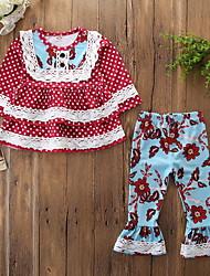 billige -Baby Pige Aktiv / Basale Prikker / Blomstret Drapering / Trykt mønster Langærmet Normal Bomuld / Spandex Tøjsæt Rød