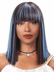 billige -Syntetiske parykker Naturlig rett Blå Bobfrisyre / Med lugg Lyseblå Syntetisk hår 14 tommers Dame ny Blå Parykk Medium Lengde Lokkløs
