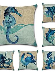 Недорогие -6 штук Хлопок / Лён Наволочка Наволочки, Особый дизайн Животные Море Животные тропический