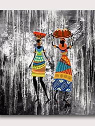 Недорогие -Hang-роспись маслом Ручная роспись - Абстракция Люди Современный Modern Включите внутренний каркас