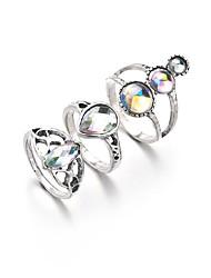 billige -Dame Kvadratisk Zirconium briolette Ring Set Simuleret diamant Klassisk Vintage Etnisk Moderinge Smykker Sølv Til Daglig Gade I-byen-tøj